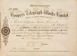 Share certificate for Hooper's Telegraph Works Ltd  1874.