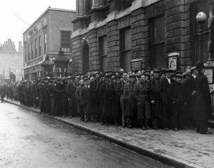 Queue of unemployed men  Stepney  12 Decemb
