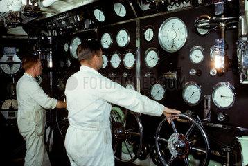 At work in the wheelhouse of the 'Duke of Lancaster'  1965.