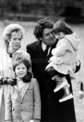 Chancellor Nigel Lawson and family  St James' Park  London  March 1985.