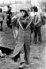 Hippie at Bickershaw pop festival  Lancashire  1972.