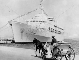 'Canberra' cruise ship docked at Palma  Majorca  5 November 1976.