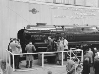 Naming the steam locomotive  'Evening Star'  1960.