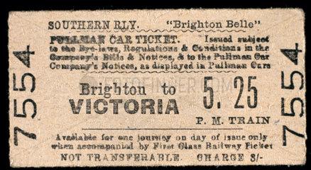 Brighton Belle Pullman Car ticket  1948. So
