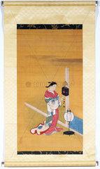 Japanese woman winding up a wall clock  1700-1750.