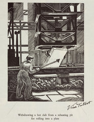 'Withdrawing a hot slab from a reheating pit for rolling into a plate'  20th century.