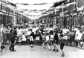 'World Cup crazy' street  Liverpool  July 1966.