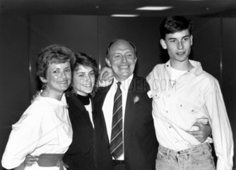 Glenys and Neil Kinnock with children Rachel and Stephen  June 1987.