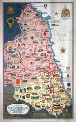 'A Map of Northumberland and Durham'  BR poster  1949.