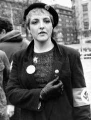Young woman with Nazi badges  c 1980.