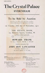 Notice for the auction of the Crystal Palace buildings  28 November 1911.
