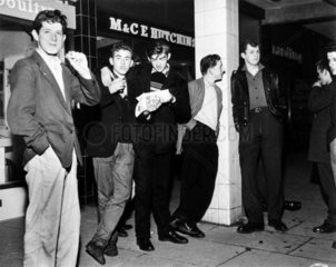 Youths outside chip shop  Durham  October 1959.