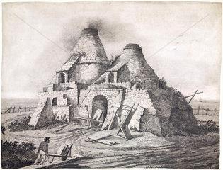 A lime kiln firing bricks  c 1831-1840.