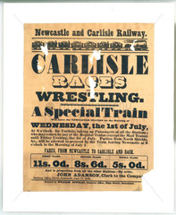 Newcastle & Carlisle Railway handbill. 'Carlisle Races'  1 July 1846.