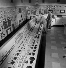 Figures in turbine control room  Northfleet Power station. 1962.