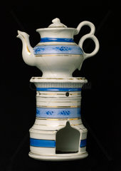 Tea warmer  pedestal and tea pot  French  1751-1860.