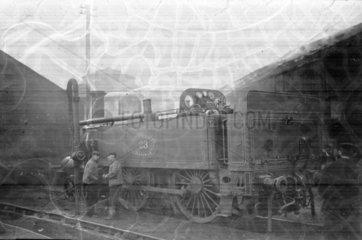 Metropolitan Railway locomotive No 23 in sidings  c 1900.