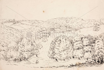 Pencil sketch of a building on a wooded hillside  South Atlantic  1828-1831.