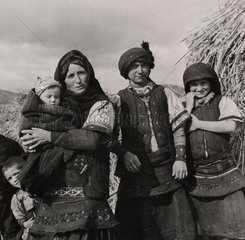 A Florina peasant family wearing traditional Slav costumes  Greece  1947.