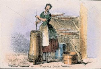'Churning Butter'  c 1845.