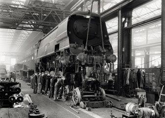 West Country Class steam locomotive at Wadebridge  October 1949.