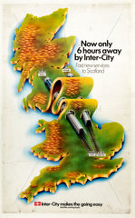'Now Only Six Hours Away by Inter-City'  BR poster  1970.