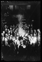 Synthetic snowstorm in a lecture at the Royal Institution  London  1933.