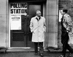Harold Wilson at a polling station  Eccleston  October 1964.