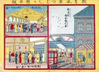 Japanese railway scenes  c 1870s-1880s.