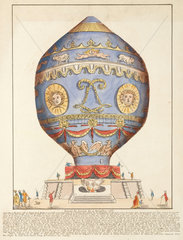 The first manned free flight ascent in a balloon  21 November 1783.