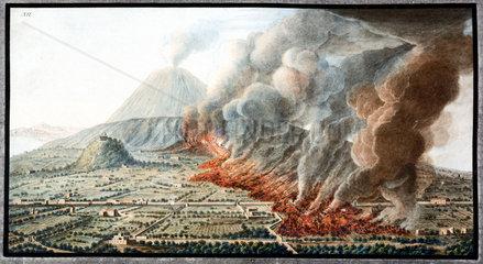Mount Vesuvius erupting  Kingdom of Naples  1760.
