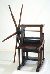 Geared roller copper plate printing press  18th century.