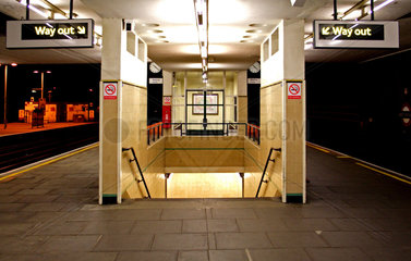 Finchley Road tube station at night  London  2005.