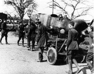 British soldiers happily display a German p