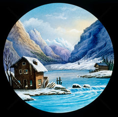 Winter scene of a river in the mountains. H