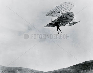 Otto Lilienthal  aviation pioneer  during one of his last flights  1896.