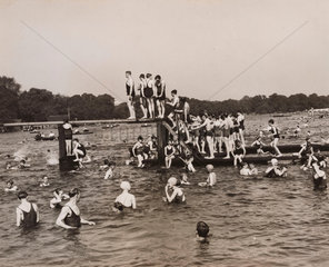 Scene at Serpentine Lido  23 June 1935.