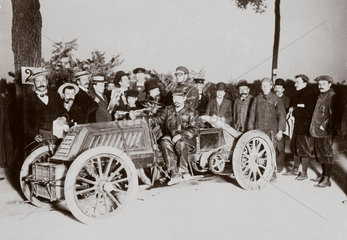 C S Rolls in his Mors Racer before the start of the Paris-Vienna race  1902.