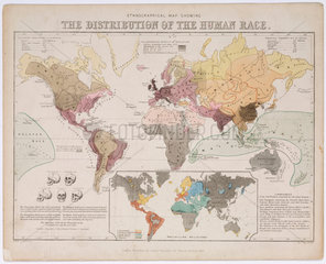 'Ethnographical Map Showing the Distribution of the Human Race'  1851.