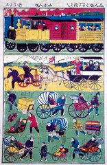 Various means of transport in Japan  1854-1889.