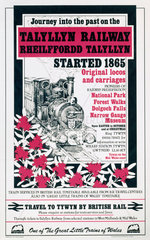 'Journey into the Past on the Talyllyn Railway'  poster  c 1970s.