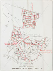Map showing electricity generating stations in London  1891.