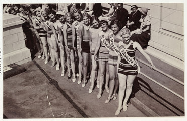 Snapshot photograph of a beauty contest  c 1930.