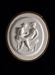Man and woman engaged in sexual foreplay  Roman?