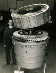 Ducted fan augmentor  F3  in assembly  c late 1940s.