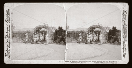 'Lord Roberts escorting Baden Powell to his headquarters  South Africa'  1900.