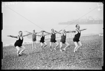 Men exercising on Brighton Beach  1933.