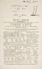 Trade card of James Love  perfume and cosmetics retailer  1788.