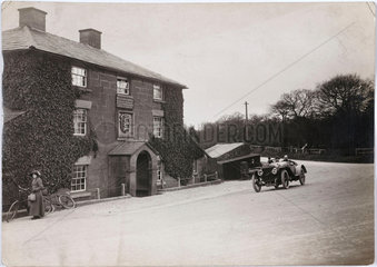 Motor car outside a hotel  Northwich  Cheshire  c 1912.