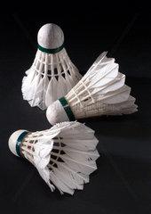 Three traditionally made shuttlecocks  1950-1960.